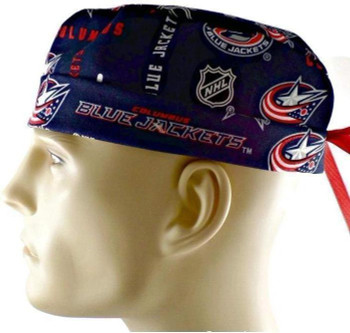 Men's Columbus Blue Jackets Navy Surgical Scrub Hat, Semi-Lined Fold-Up Cuffed (shown) or No Cuff, Handmade