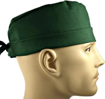 Men's Hunter Green Solid Surgical Scrub Hat, Semi-Lined Fold-Up Cuffed (shown) or No Cuff, Handmade