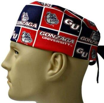 Men's Gonzaga Bulldogs Surgical Scrub Hat, Semi-Lined Fold-Up Cuffed (shown) or No Cuff, Handmade