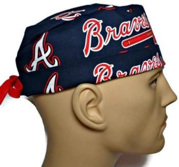 Men's Atlanta Braves Surgical Scrub Hat, Semi-Lined Fold-Up Cuffed (shown) or No Cuff, Handmade