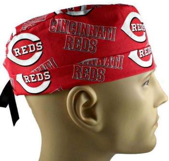 Men's Cincinnati Reds Surgical Scrub Hat, Semi-Lined Fold-Up Cuffed (shown) or No Cuff, Handmade