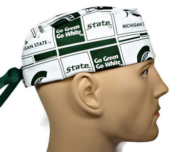 Men's Michigan State Spartans Squares Surgical Scrub Hat, Semi-Lined Fold-Up Cuffed (shown) or No Cuff, Handmade