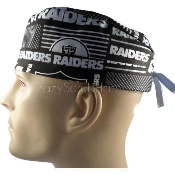 Men's Las Vegas Raiders Squares  Surgical Scrub Hat, Semi-Lined Fold-Up Cuffed (shown) or No Cuff, Handmade