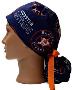Women's Houston Astros Navy Ponytail Surgical Scrub Hat, Plain or Fold-Up Brim Adjustable, Handmade