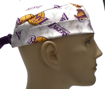 Men's Los Angeles LA Lakers Logo Surgical Scrub Hat, Semi-Lined Fold-Up Cuffed (shown) or No Cuff, Handmade