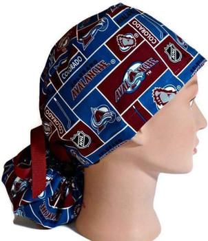 Women's Colorado Avalanche Squares Ponytail Surgical Scrub Hat, Plain or Fold-Up Brim Adjustable, Handmade