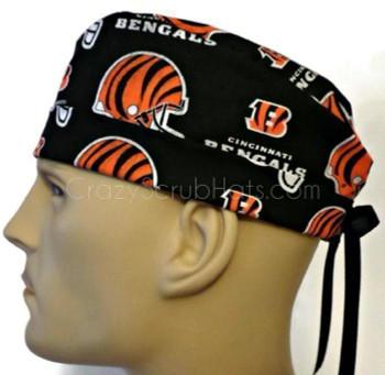 Men's Cincinnati Bengals Surgical Scrub Hat, Semi-Lined Fold-Up Cuffed (shown) or No Cuff, Handmade