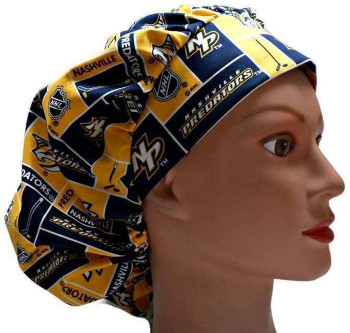 Women's Nashville Predators Squares Bouffant Surgical Scrub Hat, Adjustable with elastic and cord lock, Handmade