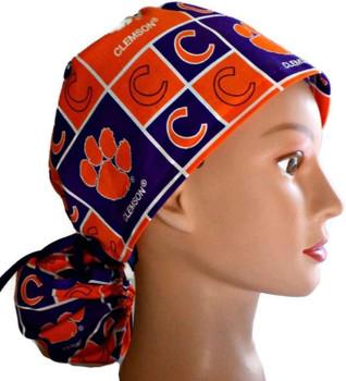 Women's Clemson Tigers Squares Ponytail Surgical Scrub Hat, Plain or Fold-Up Brim Adjustable, Handmade