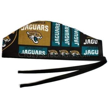 Men's Jacksonville Jaguars Squares Unlined Surgical Scrub Hat, Optional Sweatband, Handmade