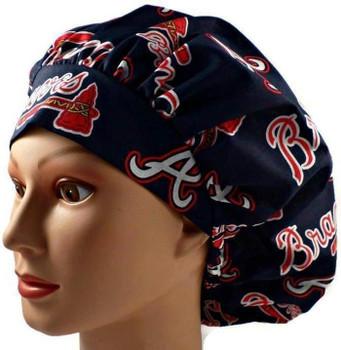 Women's Atlanta Braves Bouffant Surgical Scrub Hat, Adjustable with elastic and cord lock, Handmade