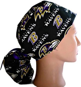 Women's Baltimore Ravens Black Ponytail Surgical Scrub Hat, Plain or Fold-Up Brim Adjustable, Handmade