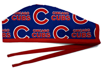 Men's Chicago Cubs Blue Unlined Surgical Scrub Hat, Optional Sweatband, Handmade