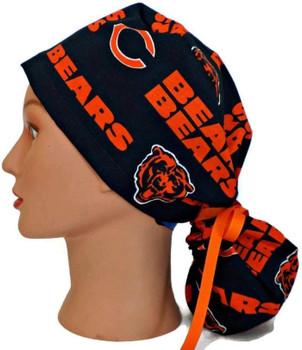 Women's Chicago Bears Navy Ponytail Surgical Scrub Hat, Plain or Fold-Up Brim Adjustable, Handmade