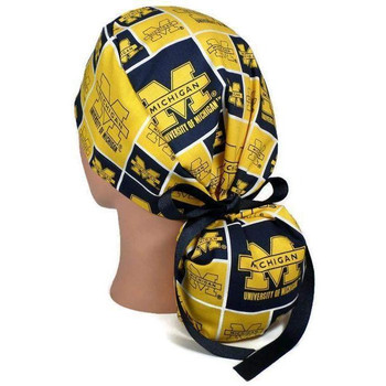 Women's Michigan Wolverines Squares Ponytail Surgical Scrub Hat, Plain or Fold-Up Brim Adjustable, Handmade