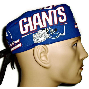 Men's New York Giants Surgical Scrub Hat, Semi-Lined Fold-Up Cuffed (shown) or No Cuff, Handmade