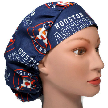 Women's Houston Astros Navy Bouffant Surgical Scrub Hat, Adjustable with elastic and cord-lock, Handmade