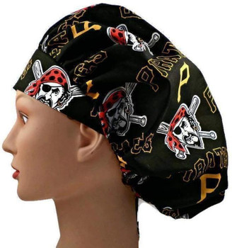 Women's Pittsburgh Pirates  Bouffant Surgical Scrub Hat, Adjustable with elastic and cord-lock, Handmade