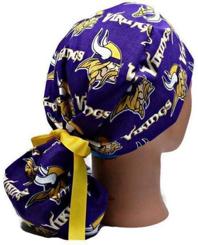 Women s Adjustable Ponytail Surgical Scrub Hat Cap Handmade with Minnesota  Vikings fabric bb1538c2e
