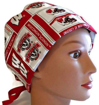 Women's Wisconsin Badgers Pixie Surgical Scrub Hat, Fold-Up Style, Adjustable with Elastic and Cord-Lock or Ribbon,  Handmade, (Made in fabric swatch shown)
