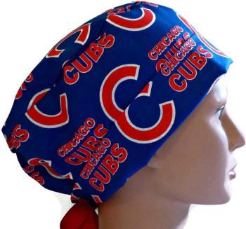 Women's Chicago Cubs Blue Pixie Surgical Scrub Hat, Fold Up Brim, Adjustable, Handmade