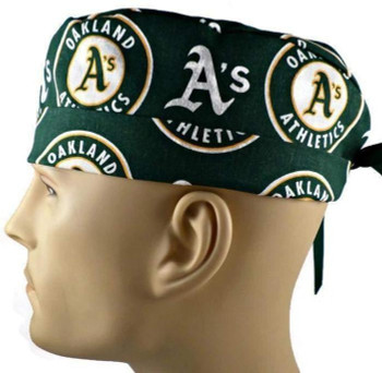 """Men's Oakland Athletics  """"A's"""" Surgical Scrub Hat, Semi-Lined Fold-Up Cuffed (shown) or No Cuff, Handmade"""