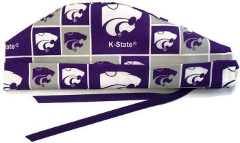 Men's Kansas State Wildcats Surgical Scrub Hat, Semi-Lined Fold-Up Cuffed (shown) or No Cuff, Handmade