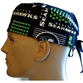 Men's Seattle Seahawks Squares Surgical Scrub Hat, Semi-Lined Fold-Up Cuffed (shown) or No Cuff, Handmade