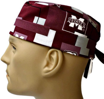 Men's Mississippi State Bulldogs New Block Surgical Scrub Hat, Semi-Lined Fold-Up Cuffed (shown) or No Cuff, Handmade