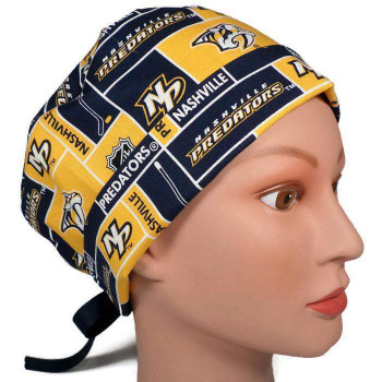 Women's Nashville Predators Squares Pixie Surgical Scrub Hat, Fold Up Brim, Adjustable, Handmade