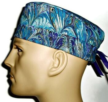Men's Oil Slick Blue Surgical Scrub Hat, Semi-Lined Fold-Up Cuffed (shown) or No Cuff, Handmade