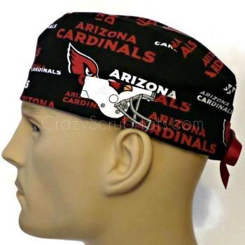 Men's Arizona Cardinals Surgical Scrub Hat, Semi-Lined Fold-Up Cuffed (shown) or No Cuff, Handmade