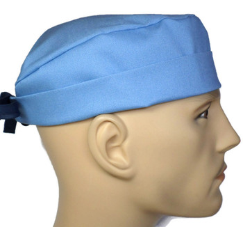 Men's Denim Blue Solid Surgical Scrub Hat, Semi-Lined Fold-Up Cuffed (shown) or No Cuff, Handmade