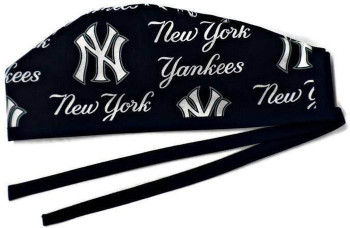 Men's New York Yankees Navy  Unlined Surgical Scrub Hat, Optional Sweatband Handmade
