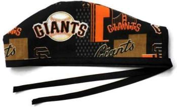 Men's San Francisco Giants Allover  Unlined Surgical Scrub Hat, Optional Sweatband, Handmade