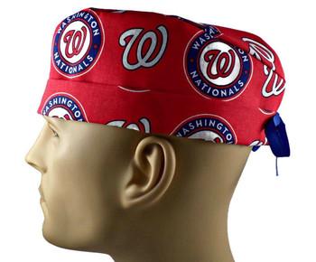 Men's Washington Nationals Surgical Scrub Hat, Semi-Lined Fold-Up Cuffed (shown) or No Cuff, Handmade