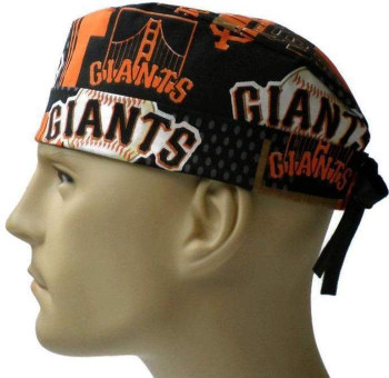 Men's San Francisco Giants Allover Surgical Scrub Hat, Semi-Lined Fold-Up Cuffed (shown) or No Cuff, Handmade