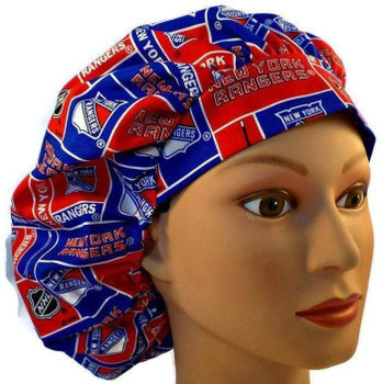 Women's New York Rangers Bouffant Surgical Scrub Hat, Adjustable with Elastic and Cord-Lock, Handmade