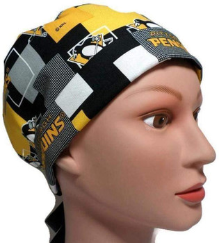 Women's Pittsburgh Penguins New Block Pixie Surgical Scrub Hat, Fold Up Brim, Adjustable, Handmade