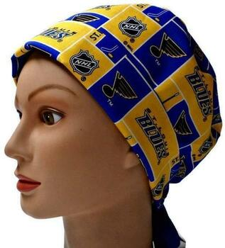 Women's St. Louis Blues Squares Pixie Surgical Scrub Hat, Fold Up Brim, Adjustable, Handmade