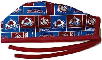 Men's Colorado Avalanche Unlined Surgical Scrub Hat, Optional Sweatband, Handmade