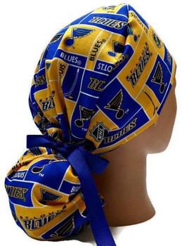 Women's St. Louis Blues Squares Ponytail Surgical Scrub Hat, Plain or Fold-Up Brim Adjustable, Handmade