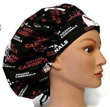 Women's Arizona Cardinals Bouffant Surgical Scrub Hat, Adjustable, Handmade