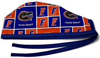 Men's Florida Gators Squares Unlined Surgical Scrub Hat, Optional Sweatband Handmade
