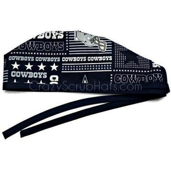 Men's Dallas Cowboys Squares Unlined Surgical Scrub Hat, Optional Sweatband, Handmade