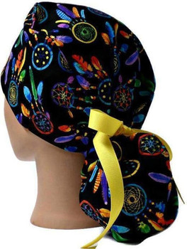 Women's Dreamcatchers Ponytail Surgical Scrub Hat, Plain or Fold-Up Brim Adjustable, Handmade