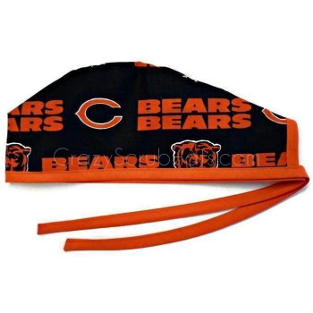 Men's Chicago Bears Navy Unlined Surgical Scrub Hat, Optional Sweatband, Handmade