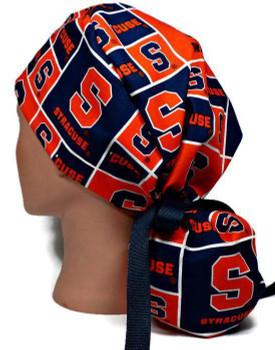 Women's Syracuse CUSE Ponytail Surgical Scrub Hat, Plain or Fold-Up Brim Adjustable, Handmade