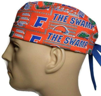 """Men's Florida Gators """"The Swamp"""" Surgical Scrub Hat, Semi-Lined Fold-Up Cuffed (shown) or No Cuff, Handmade"""
