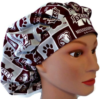 Women's Mssissippi Bulldogs Squares Bouffant Surgical Scrub Hat, Adjustable with elastic and cord-lock, Handmade